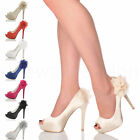 WOMENS LADIES HIGH HEEL PLATFORM PEEPTOE FLOWER WEDDING EVENING SHOES SIZE