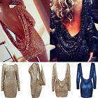 Hot Sexy Women Sequins Bling Open Backless Clubwear Bodycon Long Sleeve Dress