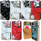 NEW 3D BLING DIAMOND LEATHER WALLET FLIP CASE COVER FOR APPLE iPHONE 5 / 5S,