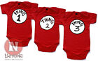 Naughtees Clothing Babygrow Thing One Two Three Red Cotton Babysuit for Triplets