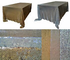 """New 6 foot 90""""x132"""" Gold Silver Sequin Table Cloth Wedding Sparkly Party Decor"""