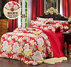 5~7 pcs Seamless Floral Prints Silk Duvet Cover flat Sheet Fitted Sheet Set