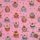 "per 1/2 metre/ FQ 100 % cotton birthday cupcakes 44""wide PINK"