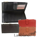 Large Twin Zip Soft Nappa Leather Purse with Multiple Card Slots Black, Red, Tan