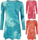 New Womens Long Sleeve Tie Dye Print Knitted Swing Dress Ladies 8-14