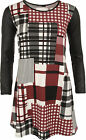 New Womens Check Tartan Print Wet Look Long Sleeve Swing Dress Ladies Top 8-14