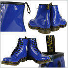 Dr. Martens Womens 1460 Classic Shiny Royal Blue Patent Leather Ankle Boots