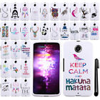For Motorola Google Nexus 6 Art Design PATTERN HARD Case Phone Cover + Pen