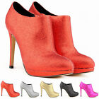 Ston Women Lady Shiny Pointed Ankle Side Zipper Sexy Club Boots Shoes High Heel