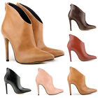 Stone Women Lady PU Pointed Tip Ankle Zipper Elegant Sexy Boots Shoes High Heel