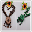Assorted Handmade Coconut Shell Carved Flower Pendant Wood Beads Necklale Option
