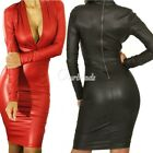 Sexy Black Faux Leather PU Plunging V-neck Long-sleeve Cocktail Party Dress OBS
