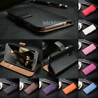 Genuine Leather Flip Wallet Case Cover For Samsung Galaxy S 2 3 4 5 6 Note 2 3 4