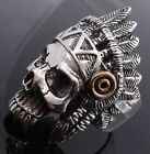 925 STERLING SILVER GOLD PLATED SKULL FEATHER BIKER RING US sz 7 to 15