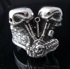 925 STERLING SILVER DOUBLE PISTON SKULL LIVE TO BIKE RIDE RING US sz 7 to 15