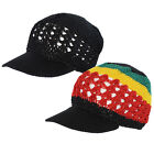 Coopy Net with Visor Cap Color Rasta Braided Knit Crochet Skull Beanie Kufi Hat
