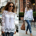 Fashion Women Lace Crochet Hollow Long Sleeve Chiffon T-Shirt Tops Blouse Tee