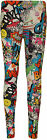 New Womens Comic Cartoon Print Ladies Full Length Long Ankle Leggings Pants 8-14