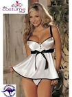 SEXY White Satin Underwire Chemise Lingerie Top Babydoll w GString Size 8-26 AU