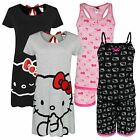 GIRLS HELLO KITTY COTTON PYJAMA SET DRESS PLAYSUIT PJS KIDS NIGHTWEAR 8-14 YEARS