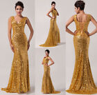 UK fast~ Sequins Lady Formal Party Homecoming Dress Prom Gown Evening Long Dress