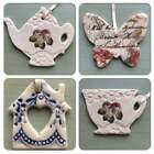 Vintage Inspired Handcrafted Ceramic Hanging Decorations by Amanda Mercer