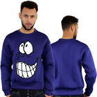 Streetwer Premium Grin LOL Sucba Fabric Sweatshirt Top Pullover Jumpers Blue