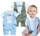 Baby Toddlers Formal Dressy Tuxedo Christening Suit, Sky Blue Waistcoat & Pants