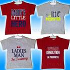 CUTE BABY PRINTED T SHIRT RED GREY LITTLE MONSTER FUN 100% COTTON