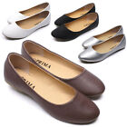 Womens Faux Leather Ballet Flats Classic Casual Comfort Slip On Flat Shoes New
