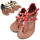 New Womens Roman Gladiator Sandals Spike Studded T-Strap Summer Shoes Flip Flops