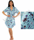 Ladies Satin Nightshirt Blue Silk Feel Buttoned Floral Size 10 12 14 16 18 20 22