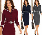 New Womens Lapel Colorblock Tunic Work Business Casual Party Pencil Sheath Dress