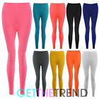 Womens Seamless Leggings Ladies Plain Colour Black Stretch Full Length Legging