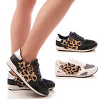 LADIES WOMENS LEOPARD TRAINERS LACE UP PUMPS FLAT FASHION CASUAL SHOES SIZE