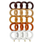 35MM REAL WOOD CURTAIN POLE SPARE RINGS X 4 - MAHOGANY NATURAL OAK TEAK & WHITE