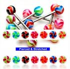 Surgical Steel Tongue Bars 1.6mm x 16mm Barbells with 6mm 2 Tone Swirl Balls in
