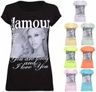 Womens Face And Glamour Logo Print Ladies Stretch Short Sleeve Tunic T-Shirt Top