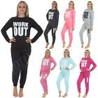 Womens Ladies Work Out Print Tracksuit Bottom Top Set
