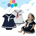 Infant Baby Girl Sailor Dress & Hat Set, White / Navy Colour Party Wear 3-24M