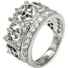 Sterling Silver Open Cut Fleur De Lis Crown Clear CZ Queen Band Ring Size 3-11