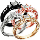 Sterling Silver Princess Cut 3 Stone Clear CZ Engagement Promise Ring Sizes 3-11