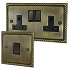 G&H Brassware Georgian Antique Brass Sockets and Switches - Full Range