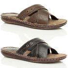 MENS LOW HEEL FLAT COMFORT PADDED SLIP ON SUMMER FLIP FLOP STRAPPY SANDALS SIZE