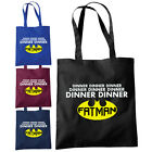 Dinner Dinner Fatman Shopper Tote Bag - Funny Fat Batman Inspired Dad Gift Bags