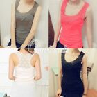 New Women Cotton Lace Hollow-Out Racerback Crochet Vest Cami Tank Tops Blouse
