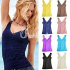 Fashion Women Lady Sexy Flower Lace V-Neck Cami Vest Basic Tank Tops Shirts M/L