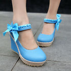Womens Wedge Heel Mary Janes Bow Lolita Leather Pumps Candy Shoes Boots 10.5