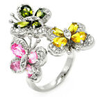 925 Sterling Silver Shiny Butterflies Colorful CZ Woman's Fancy Ring Size 3-11