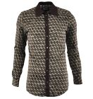 DOLCE & GABBANA GOLD Hemd mit Strickkragen Braun Knit Collar Shirt Brown 03382